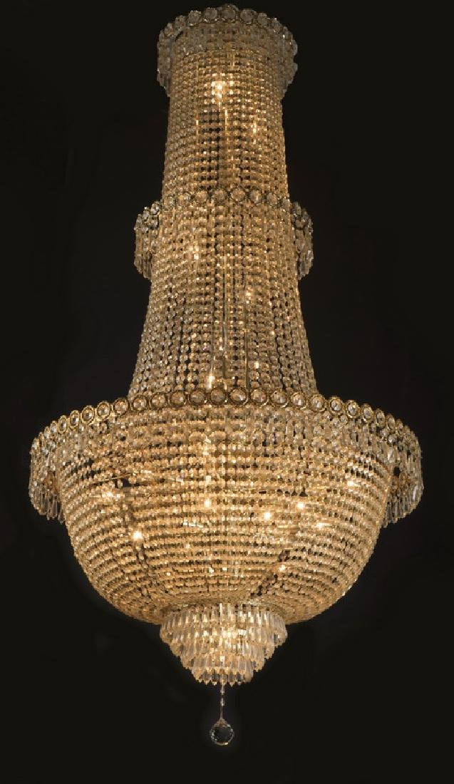 """Empire style crystal 32-light chandelier, 66""""h"""