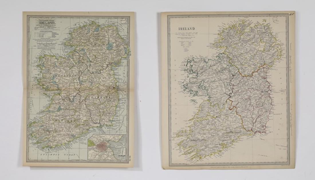 (2) Late 19th c. maps of Ireland, unframed