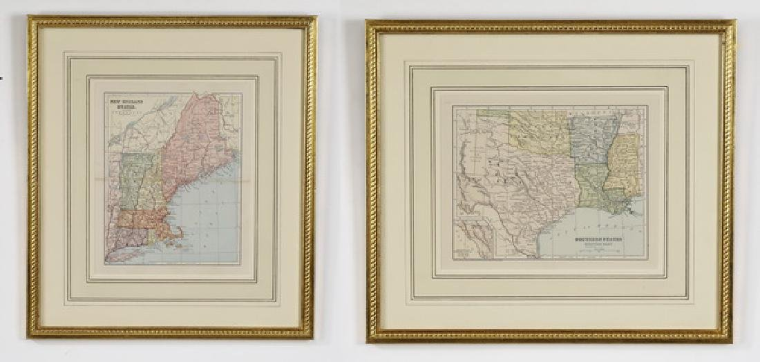 (2) American maps of New England & Southern States