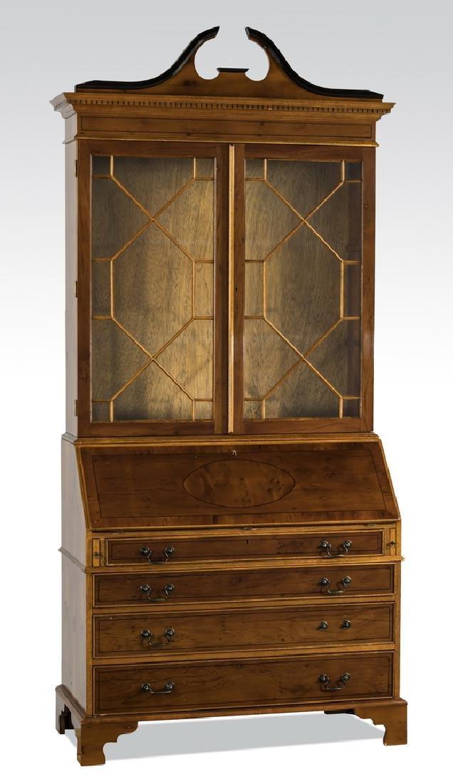 """Empire style mahogany secretary bookcase, 89""""h"""