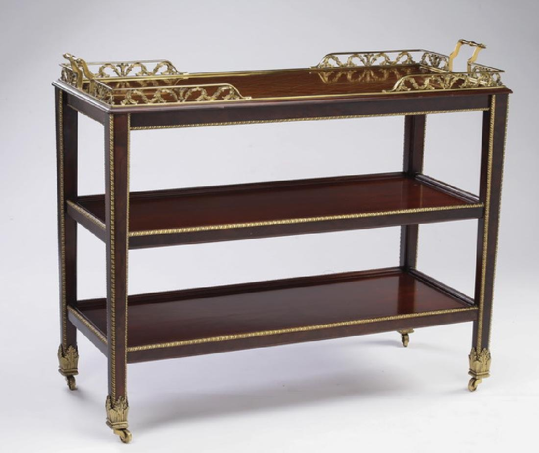 Mahogany bar cart with parquetry top & gilt trim