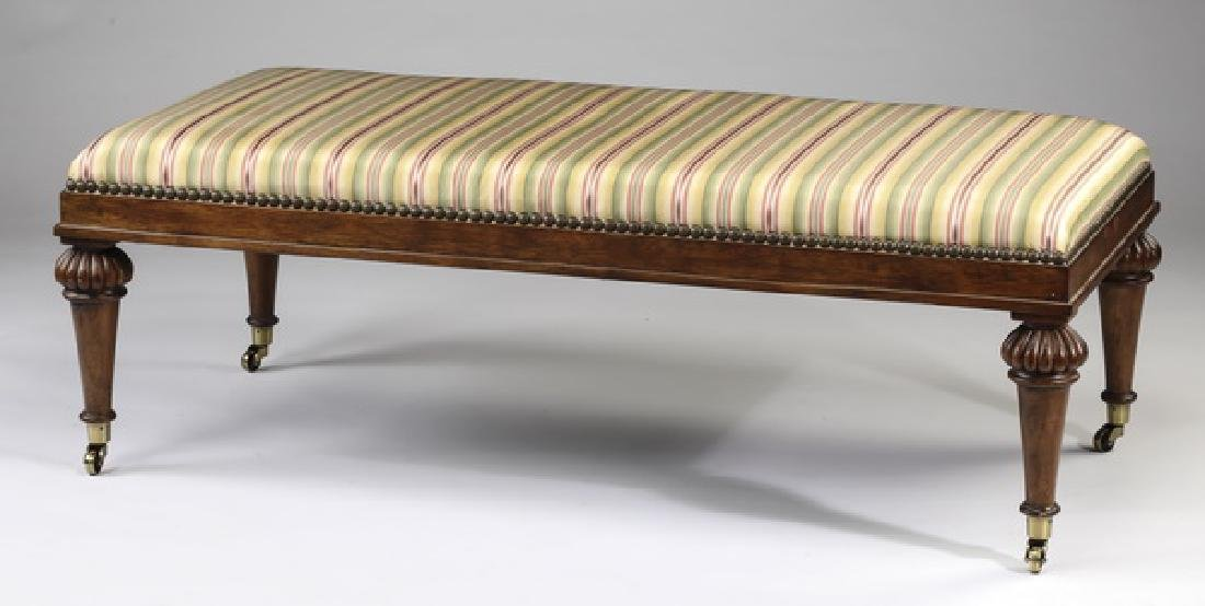 "Henredon striped silk upholsted hall bench, 52""w"