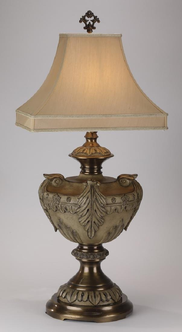 Neoclassical style ceramic & brass table lamp
