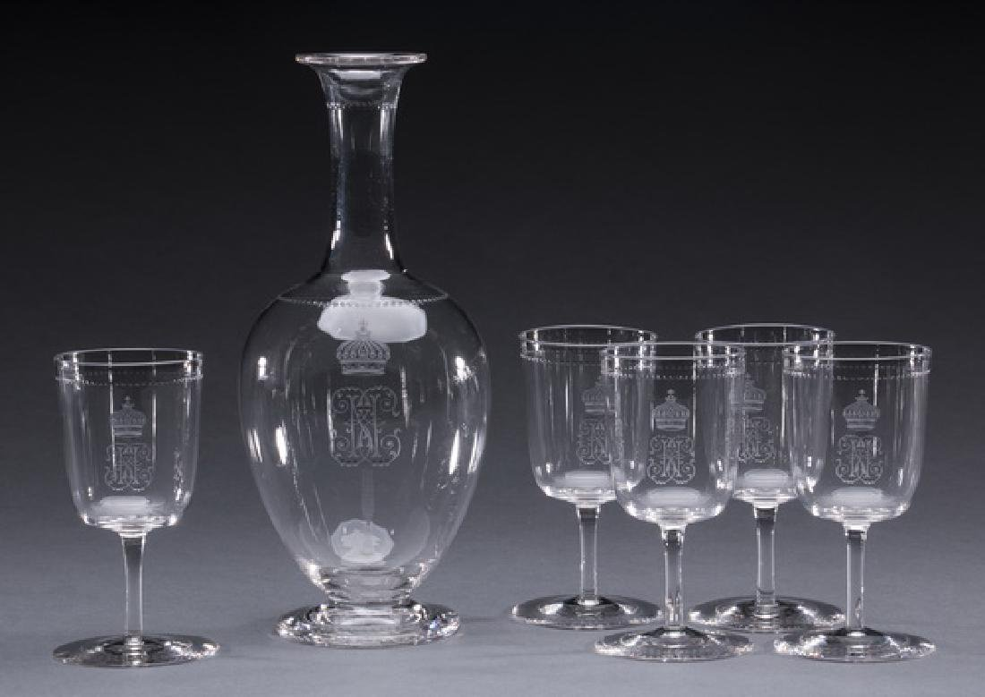 6-Piece Continental crystal cordials and carafe