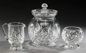 (3) Waterford crystal 'Lismore' table accessories
