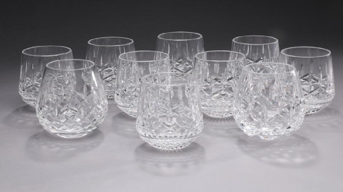 (10) Waterford crystal stemless red wine glasses