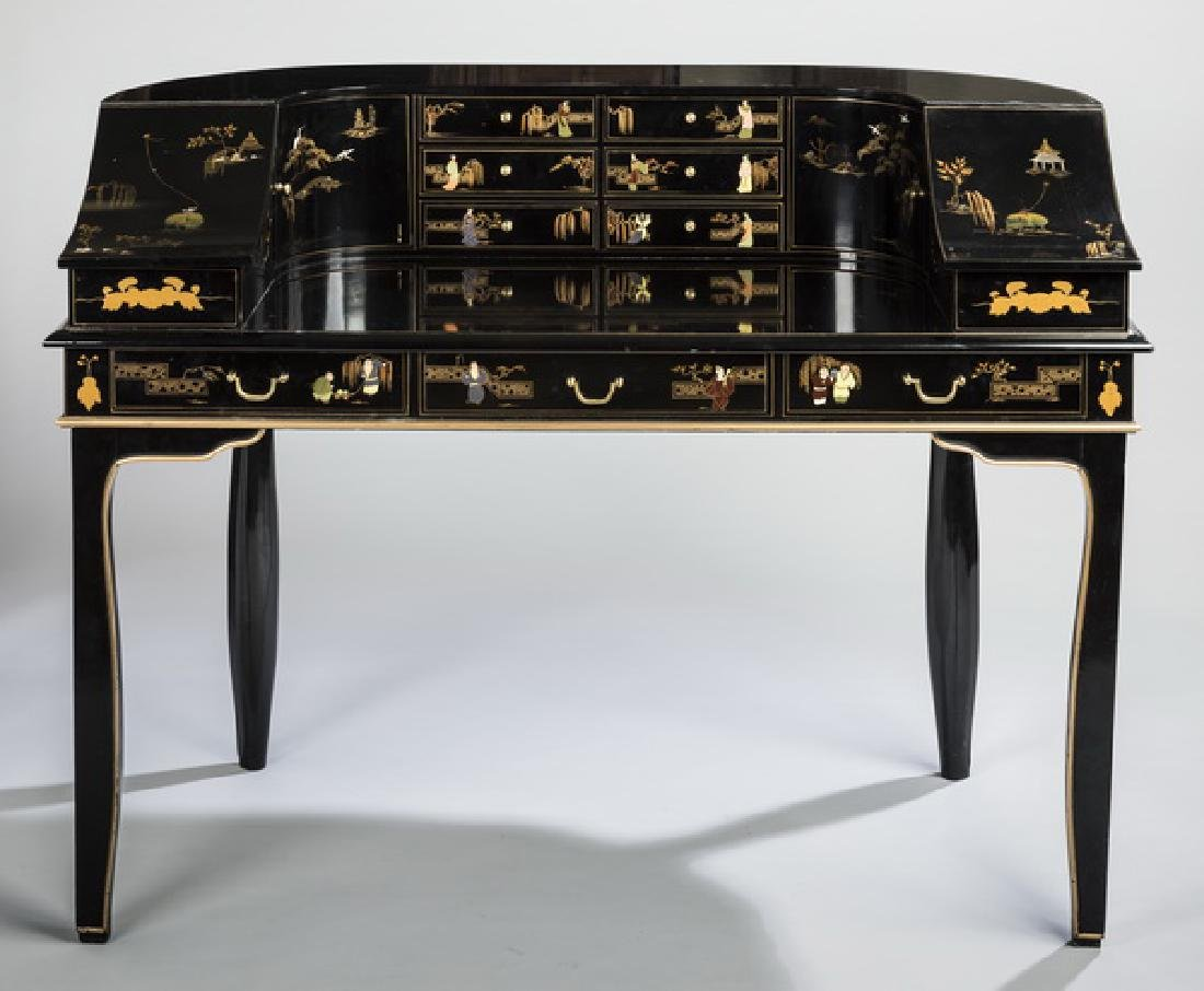 "Chinoiserie inspired lacquered Carlton desk, 51""w"