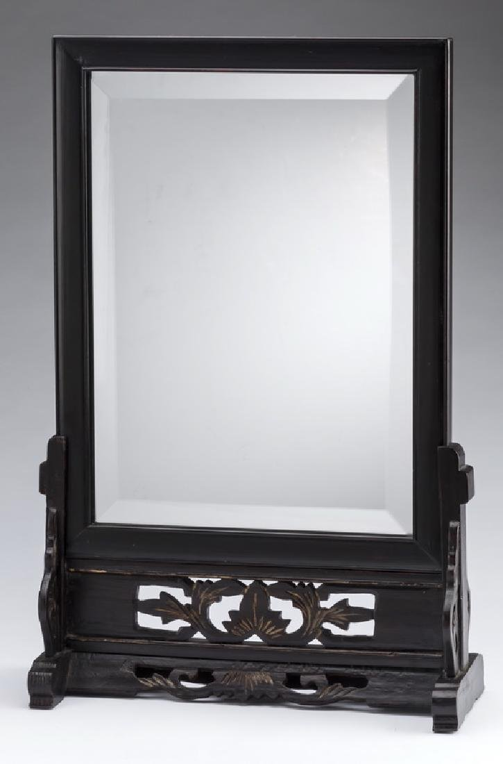 """Asian inspired beveled vanity mirror on stand, 22""""h"""