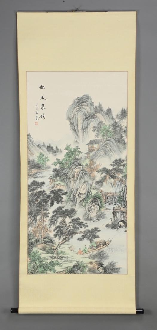 Chinese hand painted ink & watercolor scroll