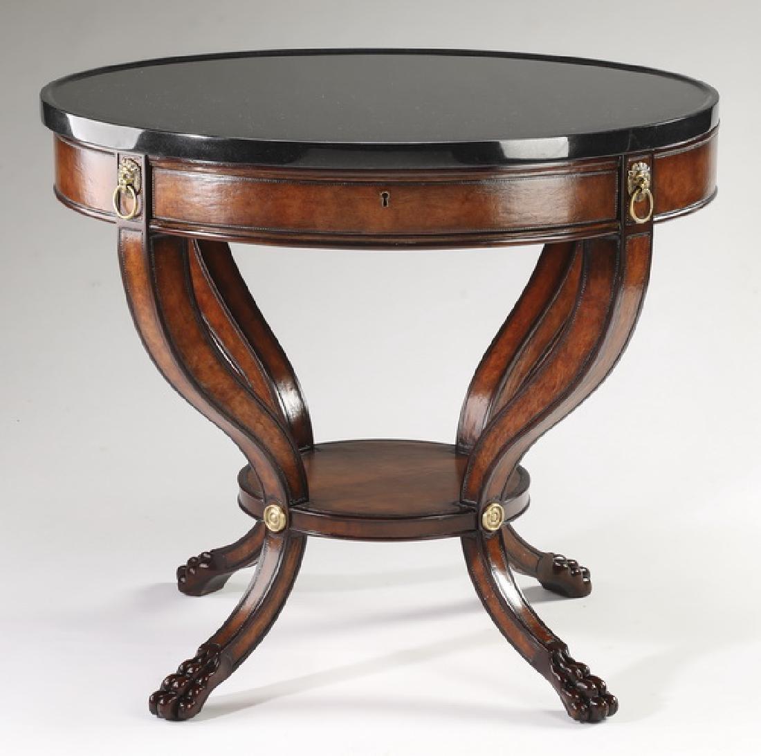 Henredon Regency style black marble top table