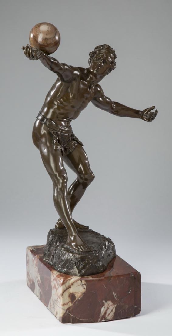 E. Hamburger signed marble & bronze athlete, ca. 1900
