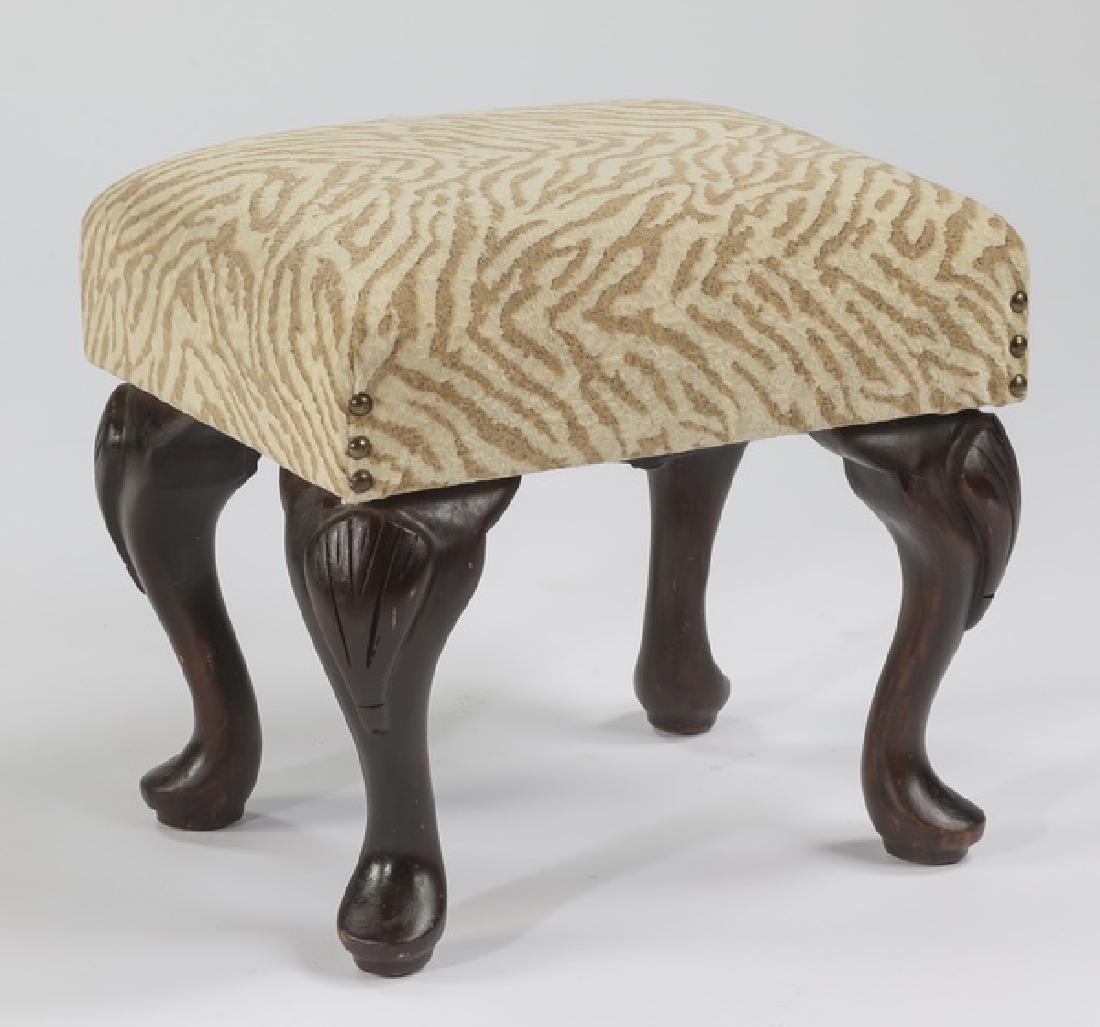 """Diminutive tiger upholstered footstool, 15""""h"""