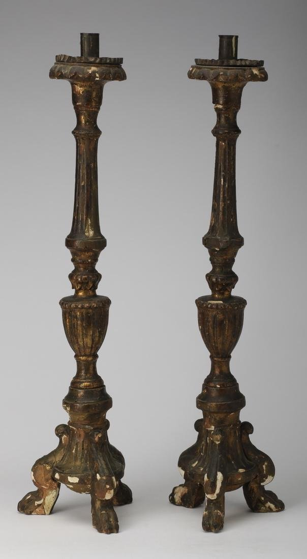 """(2) 19th c. giltwood and gesso candlesticks, 26""""h"""