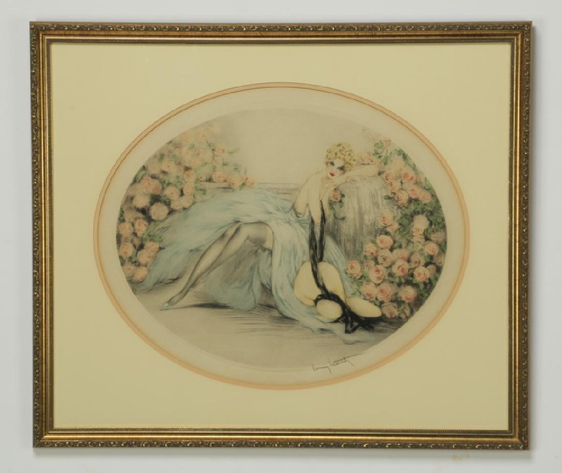 Louis Icart signed 'La Belle Rose' etching, framed