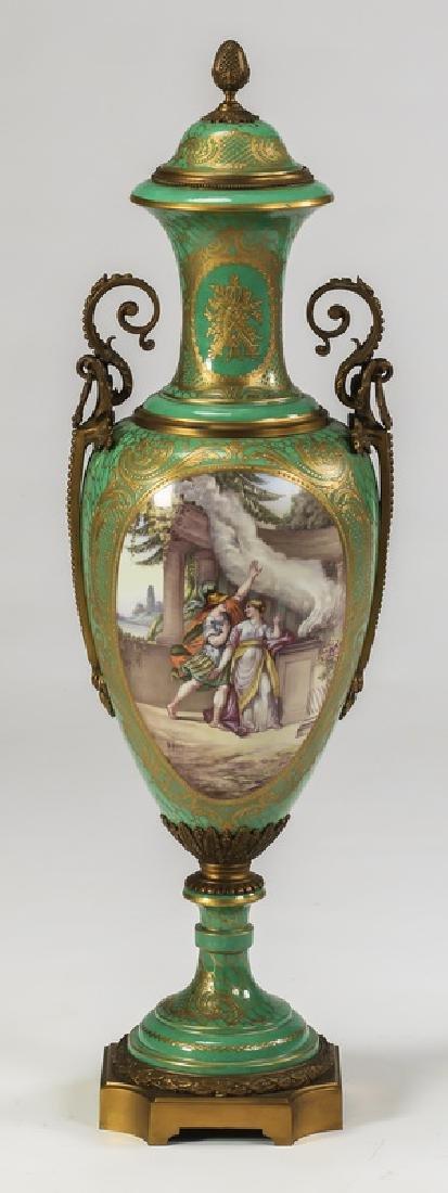 """Large Sevres style porcelain urn, 34""""h"""