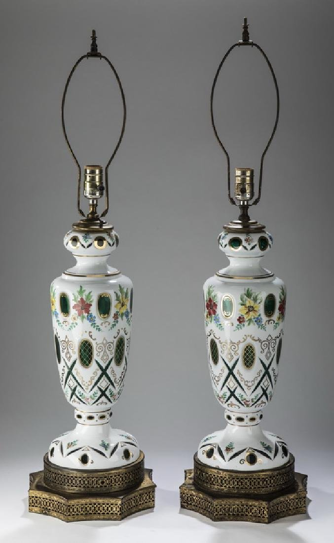 (2) Early 20th c. Bohemian glass table lamps