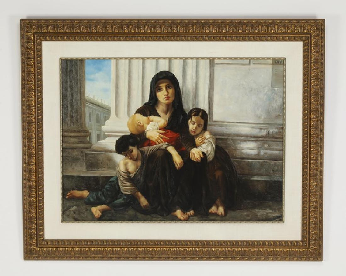 After Bouguereau, O/c titled 'Charity,' framed