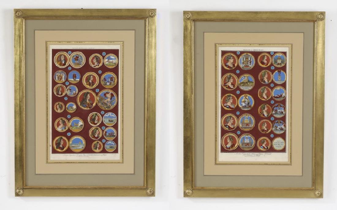 After Rapin, hand-colored engravings of royal medals