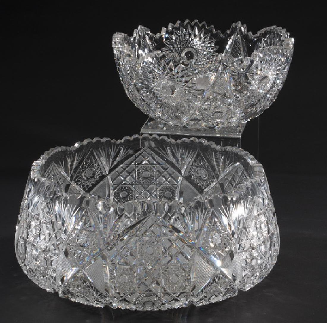 "Two Bohemian cut crystal bowls, 9""w and 12""w"