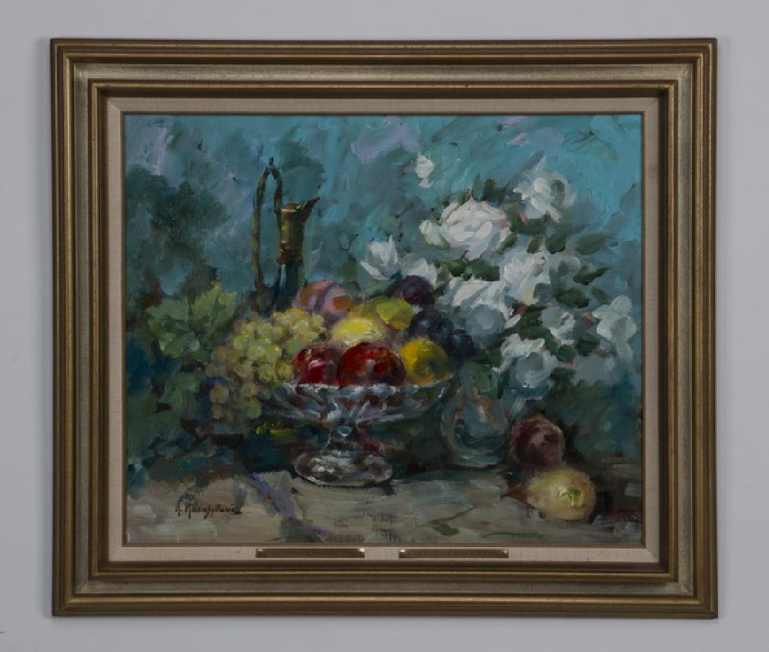 A. Karafyllakis signed O/c still life, fruit & flower