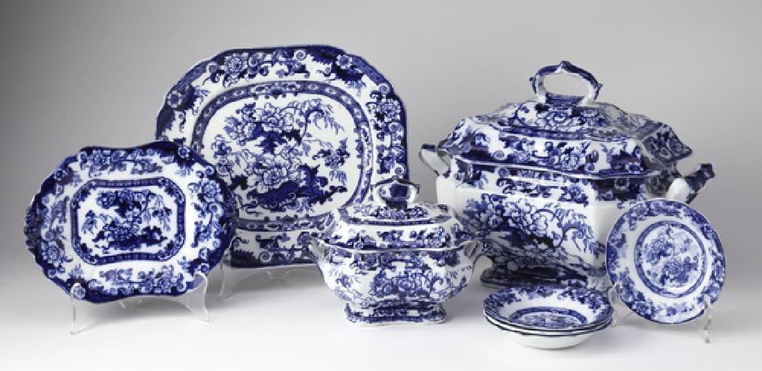 (8) Pcs Cauldon Bentick pattern flow blue, c. 1900