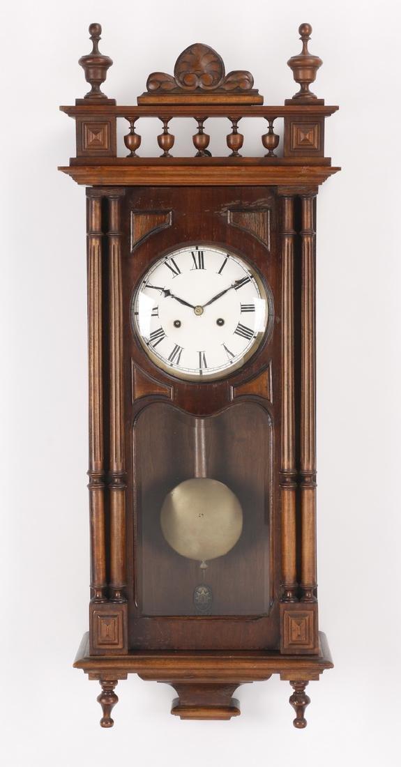 "19th c. walnut regulator clock, 37""h"