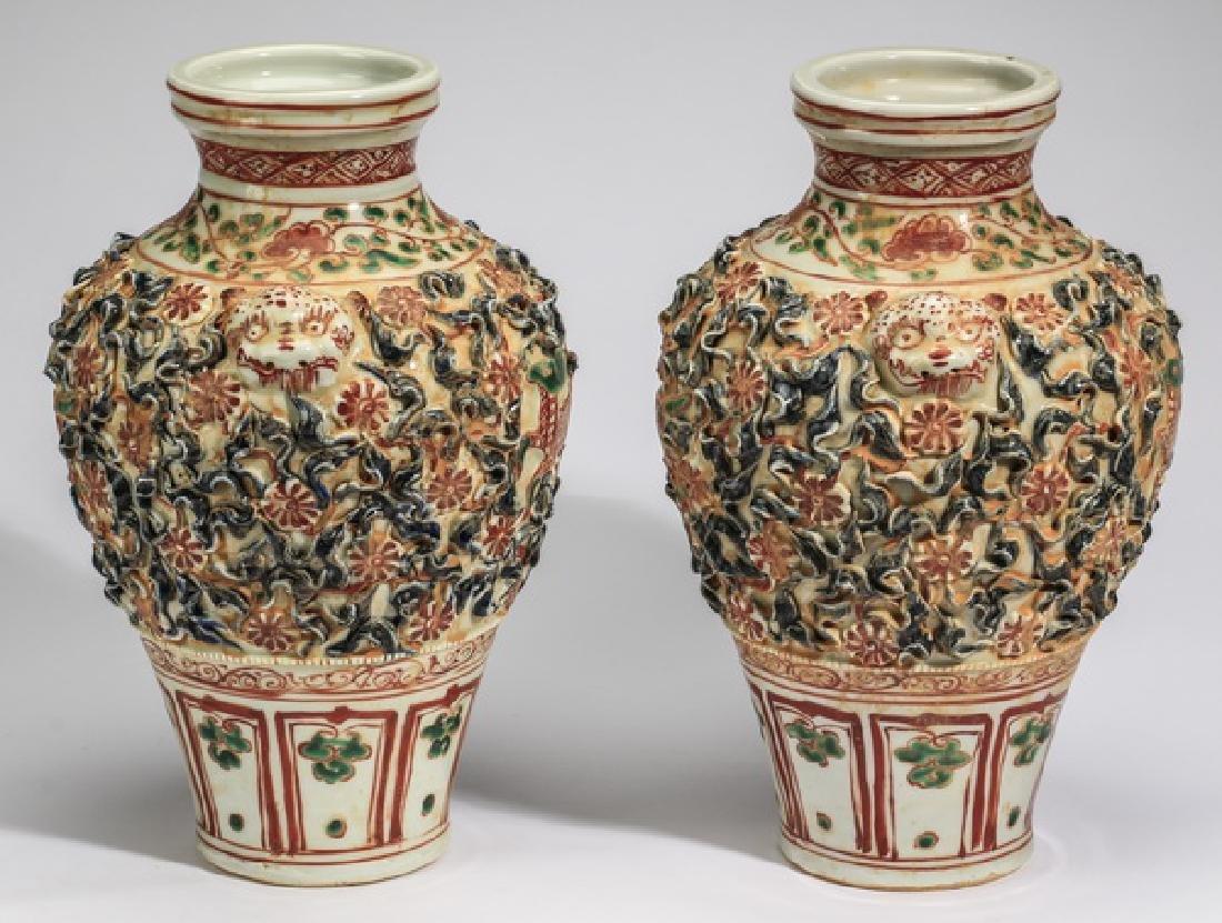 "(2) Chinese Kangxi style polychrome vases, 13""h"