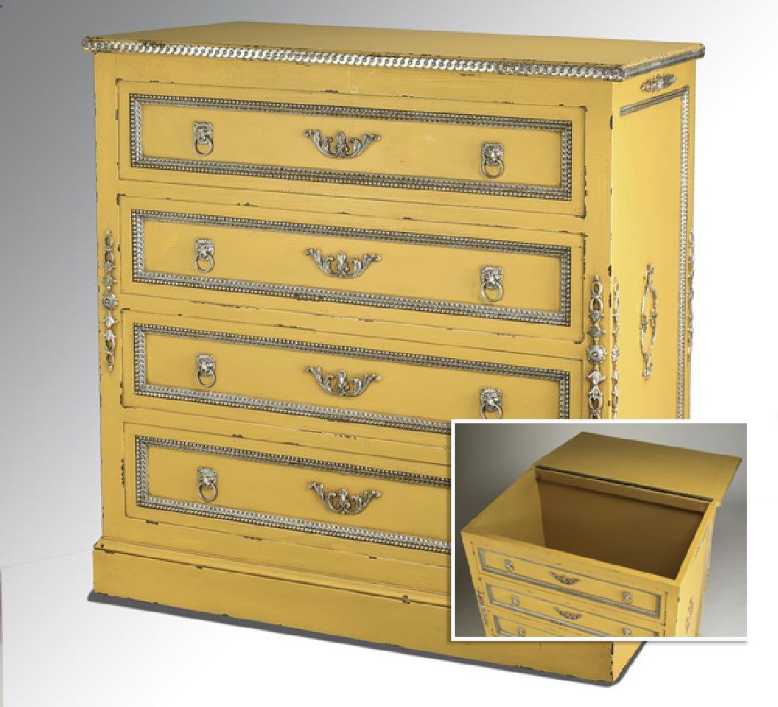 Paint decorated storage chest w/ faux drawer fronts