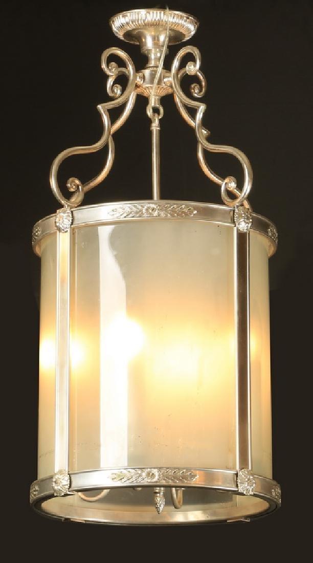 "Continental silvered bronze hanging lantern, 30""h"
