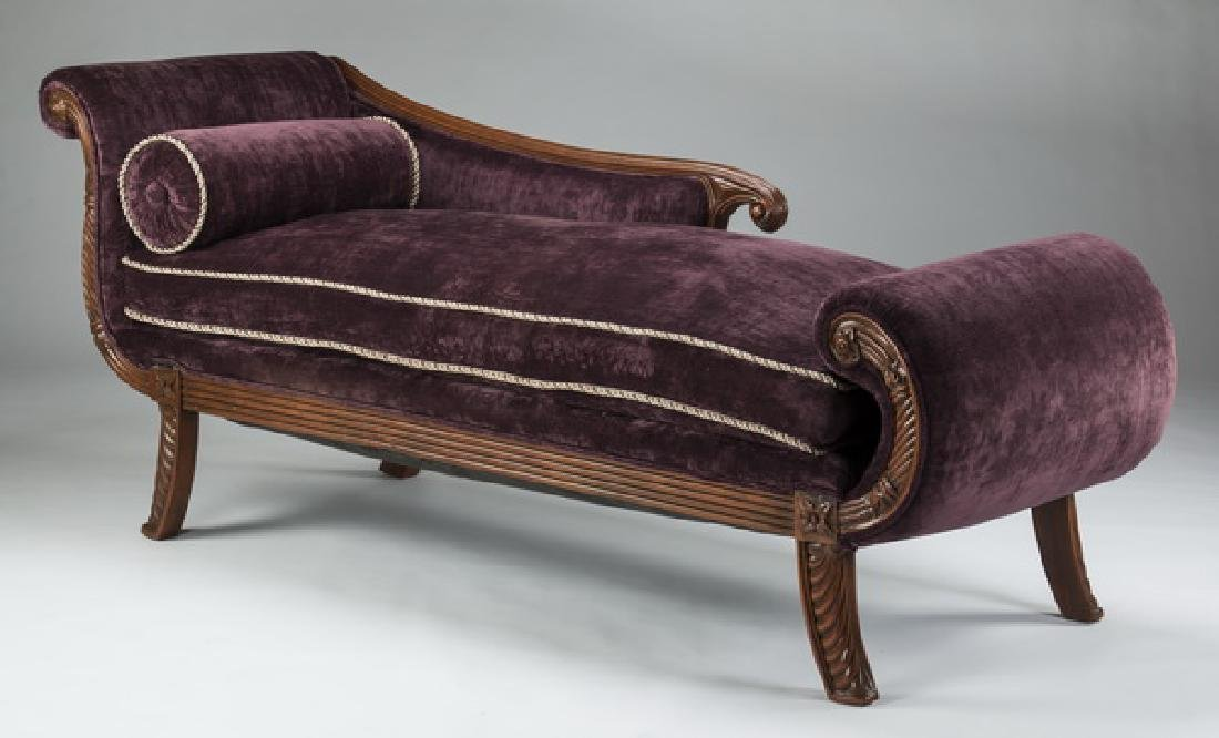 Empire style carved aubergine velvet chaise lounge