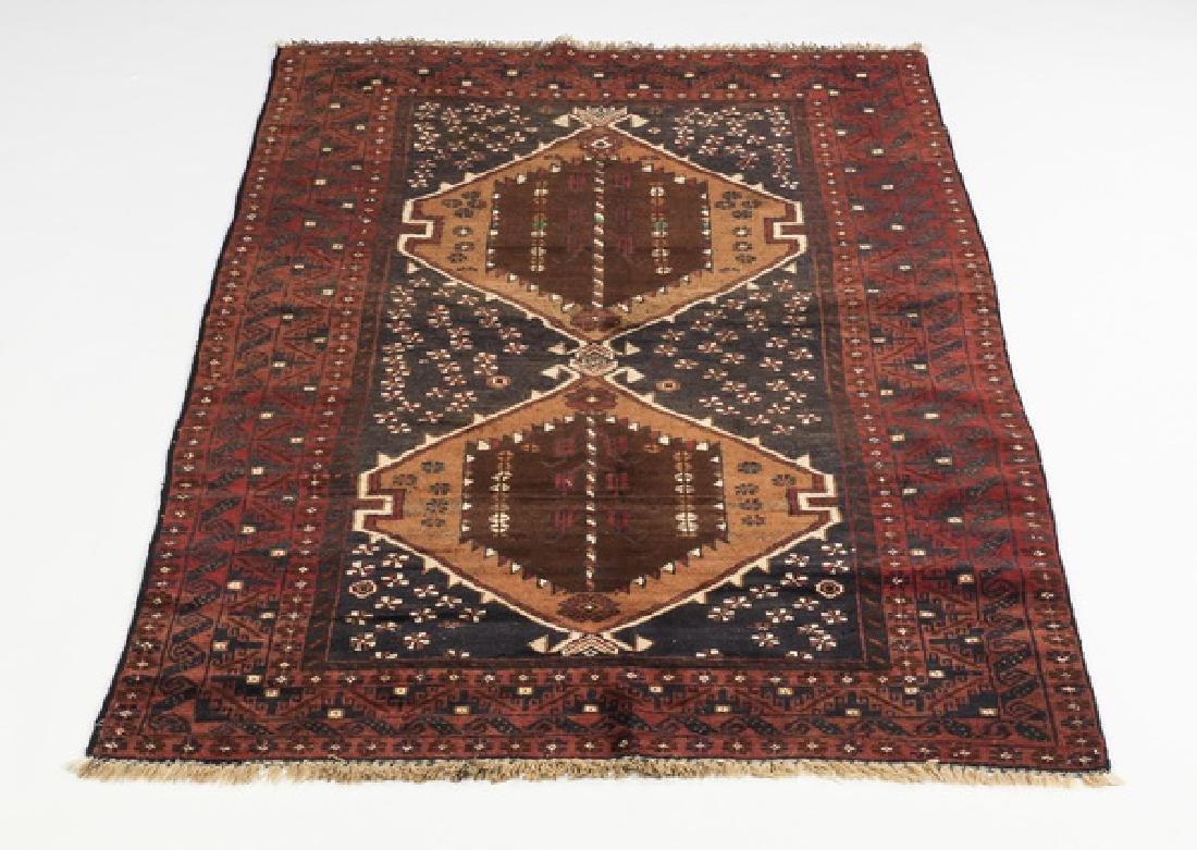 Hand knotted wool Baluch rug, 4 x 6
