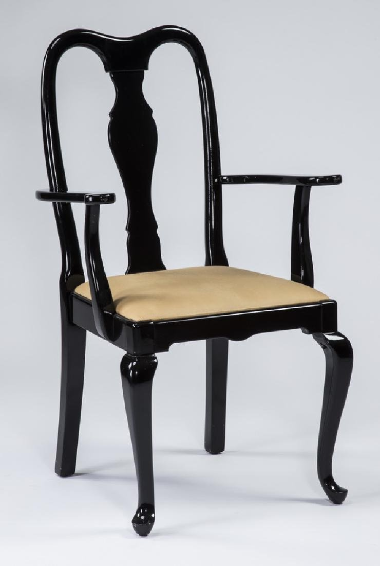 Ebonized Queen Anne style armchair