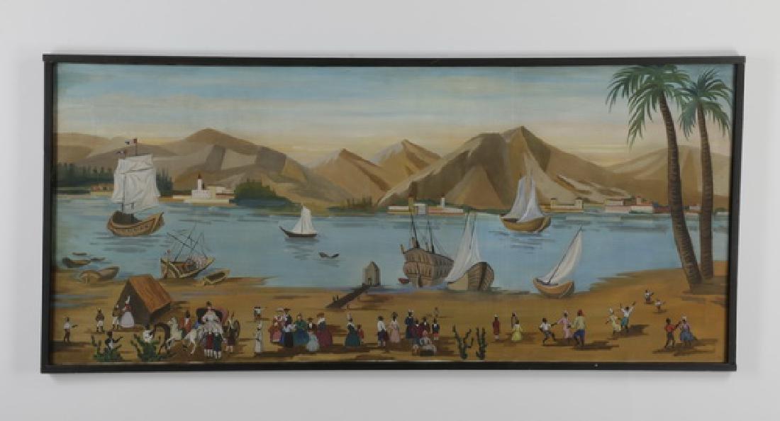 "Haitian harbor scene, O/c, signed, 73""l"