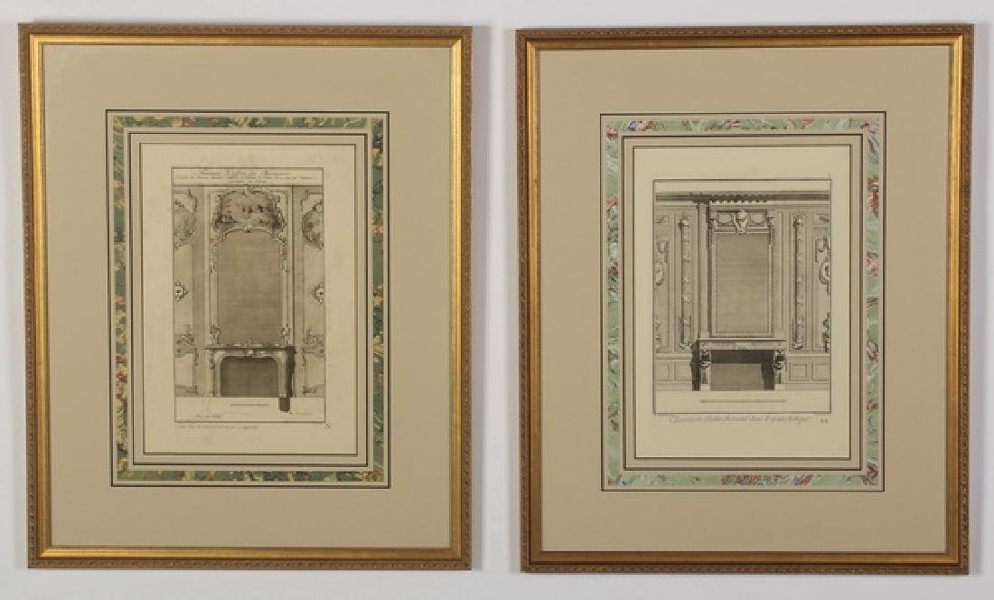 (2) 19th c. French architectural engravings