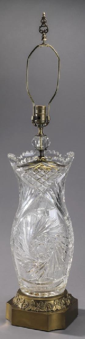 American brilliant cut glass vase mounted as a lamp