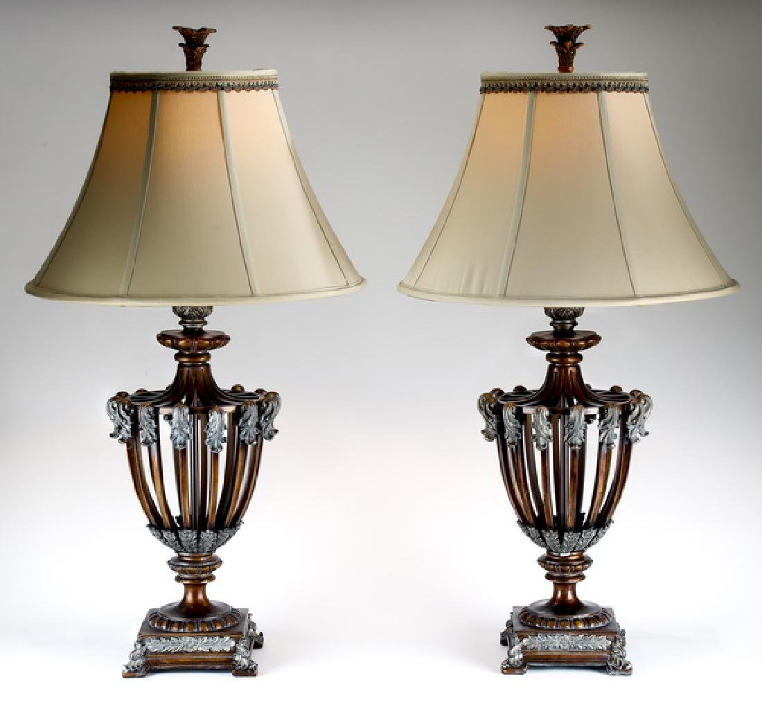 (2) Neoclassical style brushed metal table lamps
