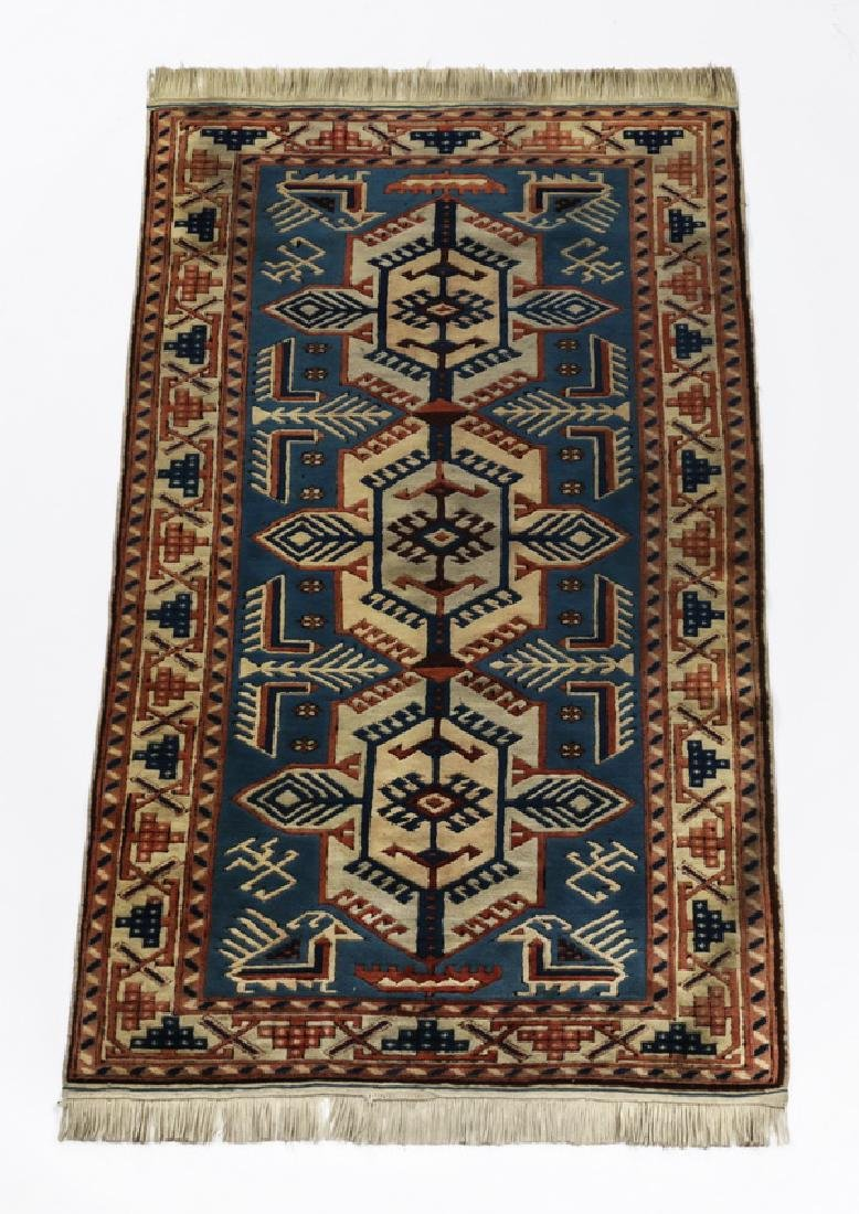 Hand knotted Caucasian Karabagh style wool rug, 6'l