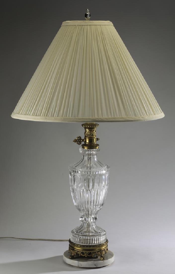 Cut crystal table lamp w/ marble & bronze base
