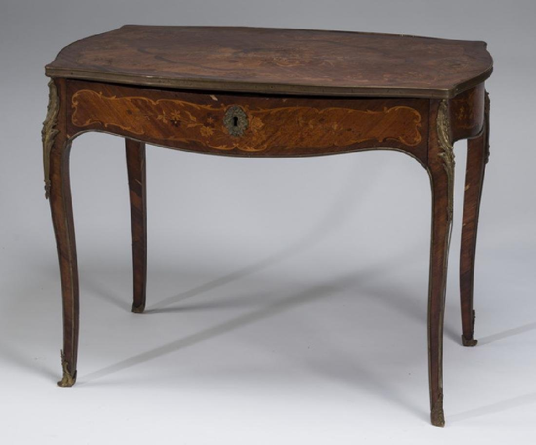 "19th c. marquetry inlaid ladies writing desk, 39""w"