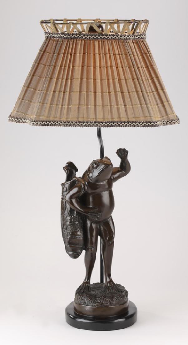 Maitland Smith whimsical golfing frog lamp