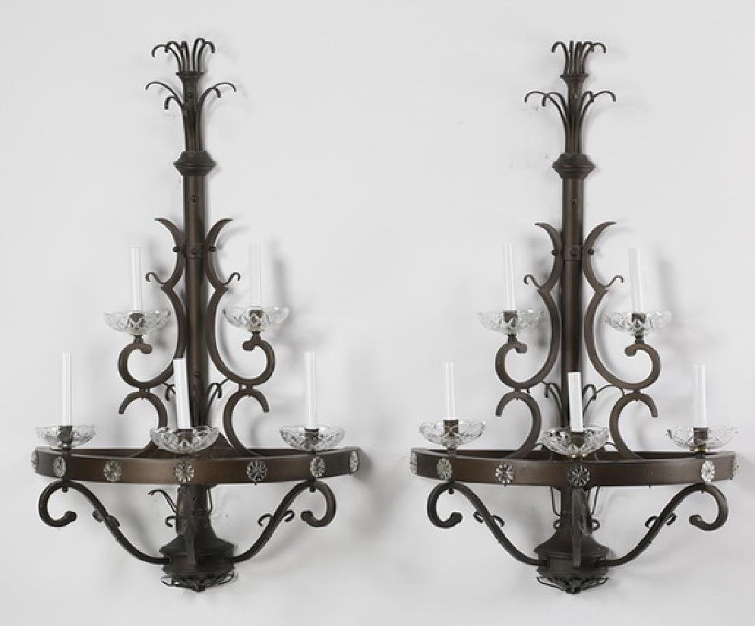 (2) Wrought iron 5-light wall sconces