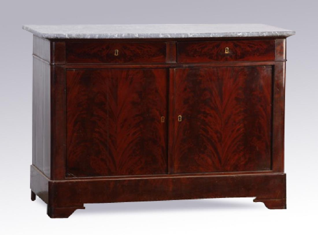 19th c. French marble top mahogany buffet