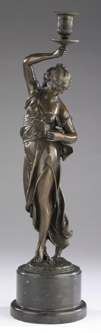"Bronze figural classical maiden candlestick, 21""h"