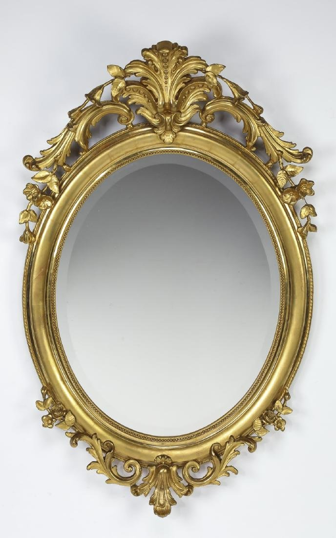 "Early 20th c. French gold leaf mirror, 52""h"