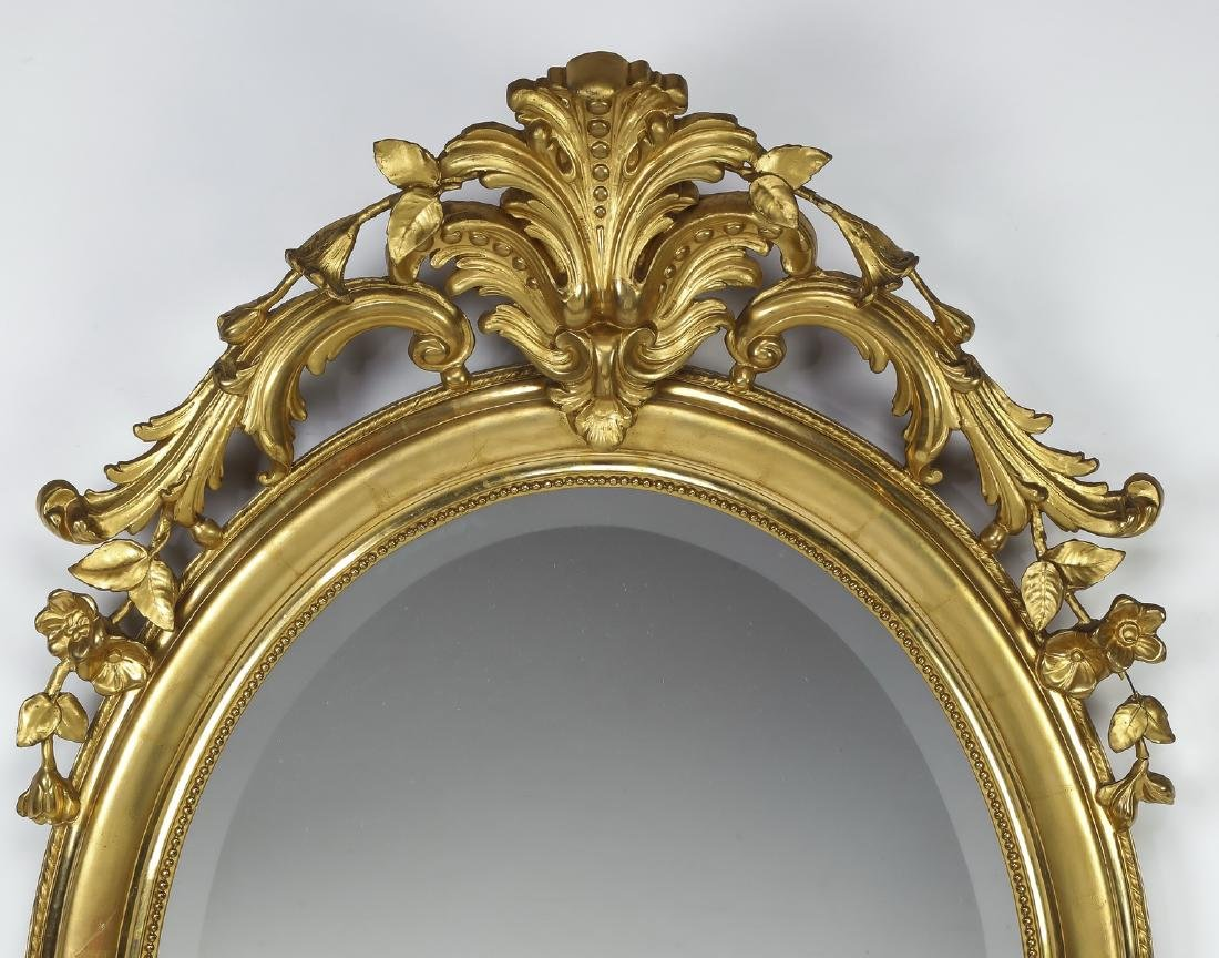 "Early 20th c. French gold leaf mirror, 52""h - 2"