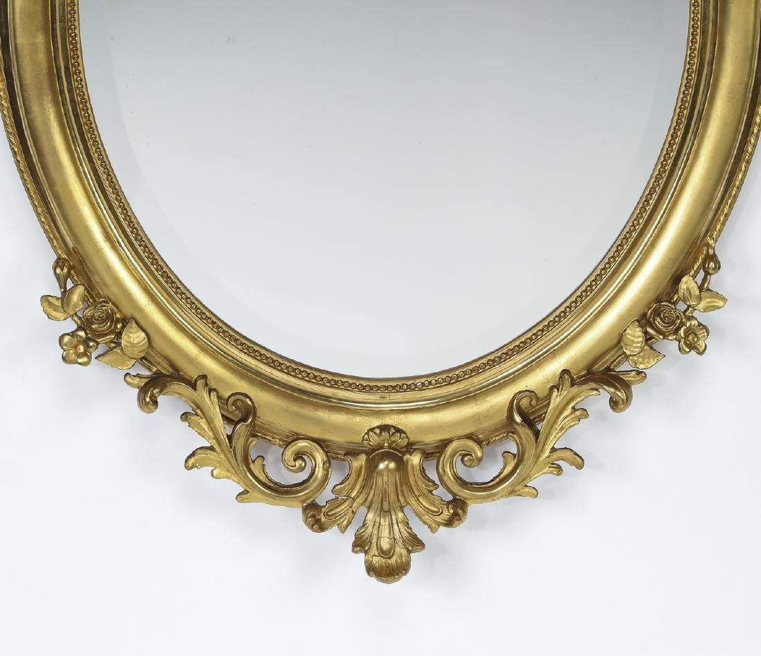 "Early 20th c. French gold leaf mirror, 52""h - 3"