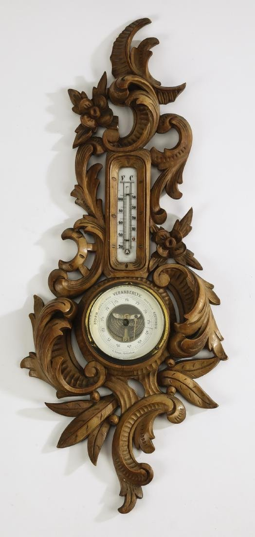 Early 20th c. Dutch carved Rococo style barometer