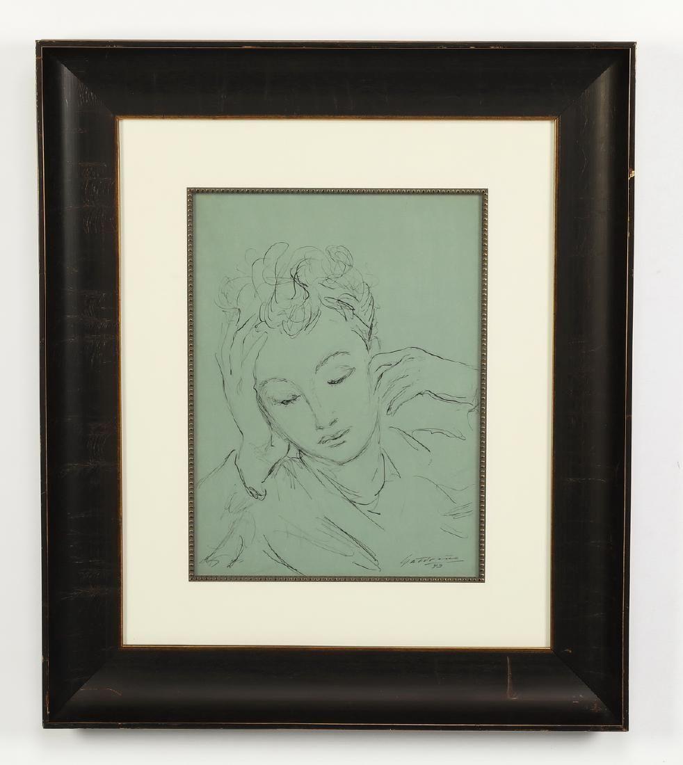 Antonio Gattorno portrait of young girl, signed