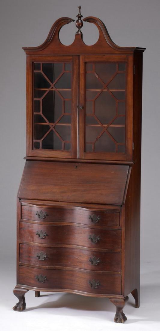 Federal style mahogany slant front secretary bookcase
