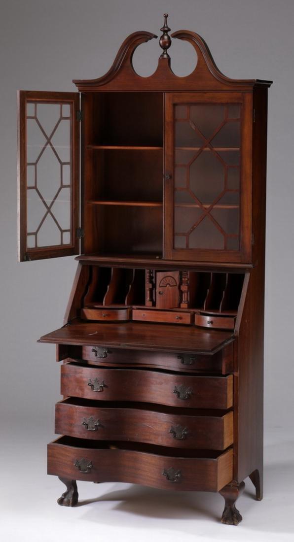 Federal style mahogany slant front secretary bookcase - 2